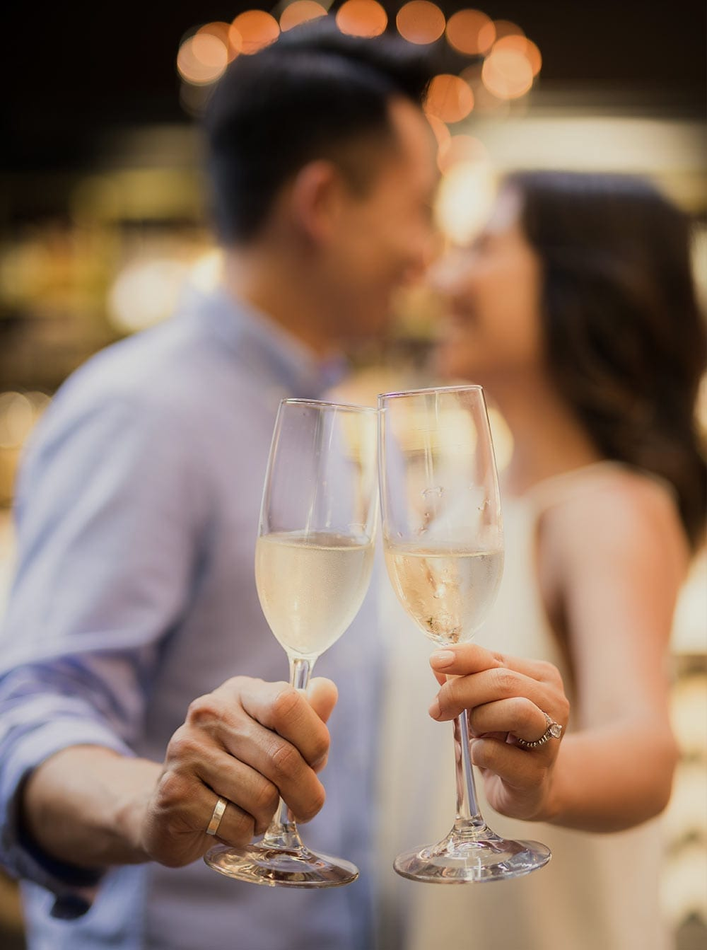 Wedding Couple with Prosecco Glasses