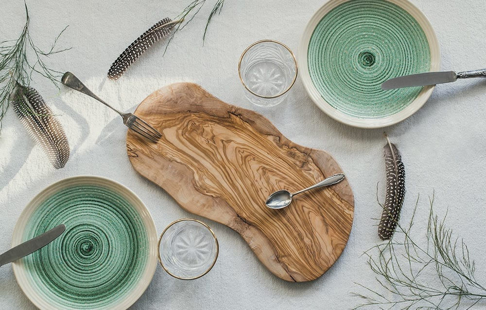 table setting for charcuterie board