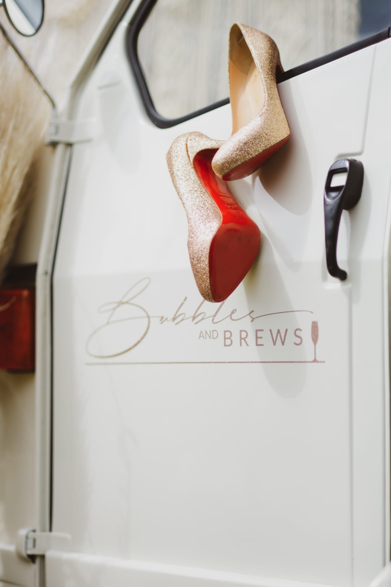Girls Night Out Christian Louboutin Shoes on Bubbles and Brews Prosecco Cart Door