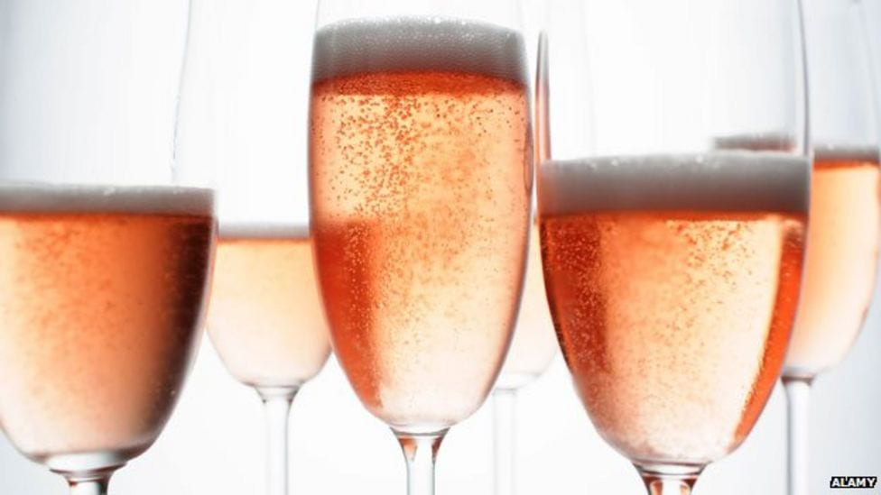 Mobile Bar Prosecco Glasses filled with Rose
